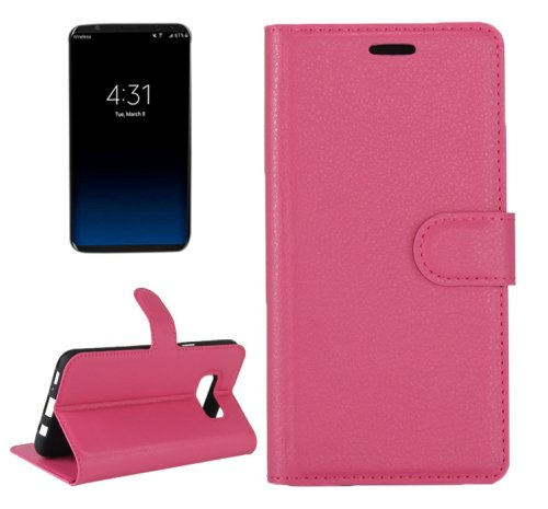 For Galaxy S8+ Magenta Litchi Magnetic Leather Case with Holder, Card Slots & Wallet