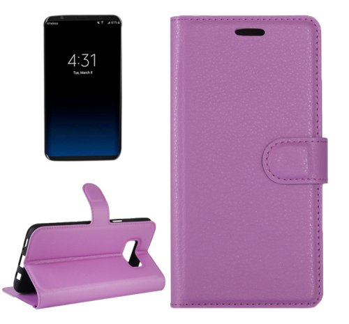 For Galaxy S8+ Purple Litchi Magnetic Leather Case with Holder, Card Slots & Wallet