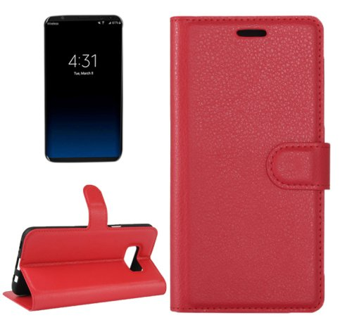 For Galaxy S8+ Red Litchi Magnetic Leather Case with Holder, Card Slots & Wallet