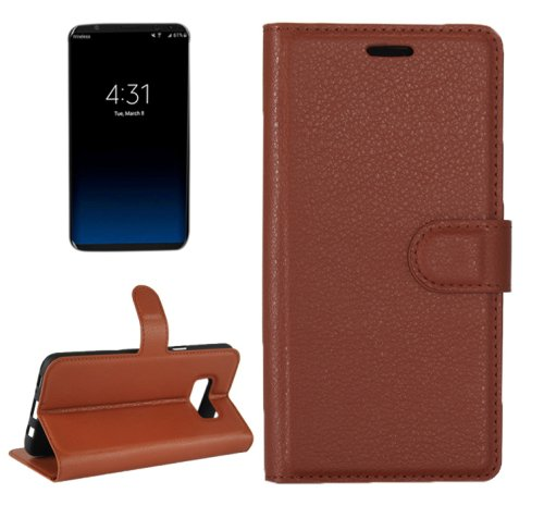 For Galaxy S8+ Brown Litchi Magnetic Leather Case with Holder, Card Slots & Wallet