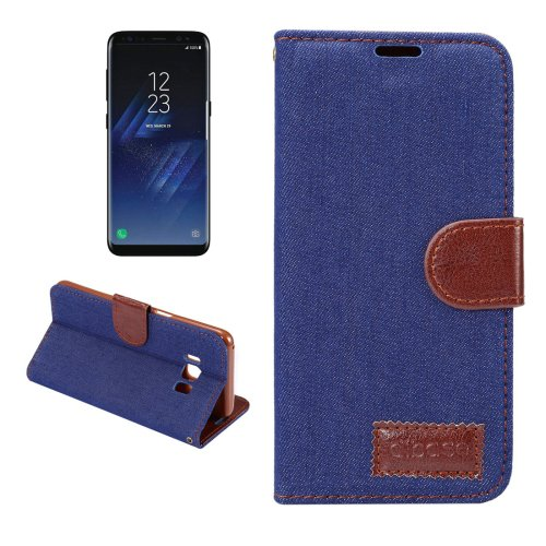 For Galaxy S8+ Dark Blue Denim Texture Leather Case with Holder, Card Slots & Wallet