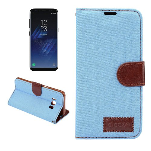 For Galaxy S8+ Blue Denim Texture Leather Case with Holder, Card Slots & Wallet