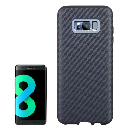 For Galaxy S8+ Dark Blue Carbon Fibre Texture PU Leather Protection Back Cover Case