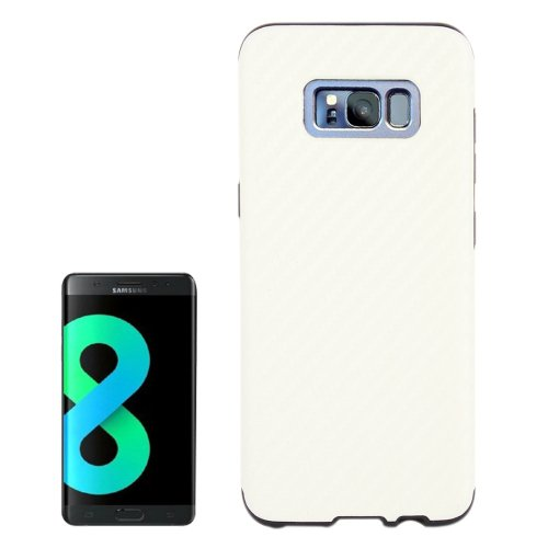 For Galaxy S8+ White Carbon Fibre Texture PU Leather Protection Back Cover Case