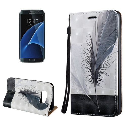 For Galaxy S8+ 3D Feather Magnetic Leather Case with Holder, Card Slots & Lanyard