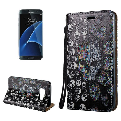 For Galaxy S8+ 3D Skull Magnetic Leather Case with Holder, Card Slots & Lanyard