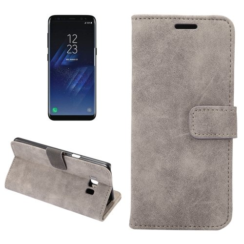 For Galaxy S8+ Grey Sheep Bar Leather Case with Holder, Card Slots & Wallet
