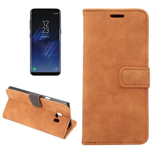 For Galaxy S8+ Brown Sheep Bar Leather Case with Holder, Card Slots & Wallet