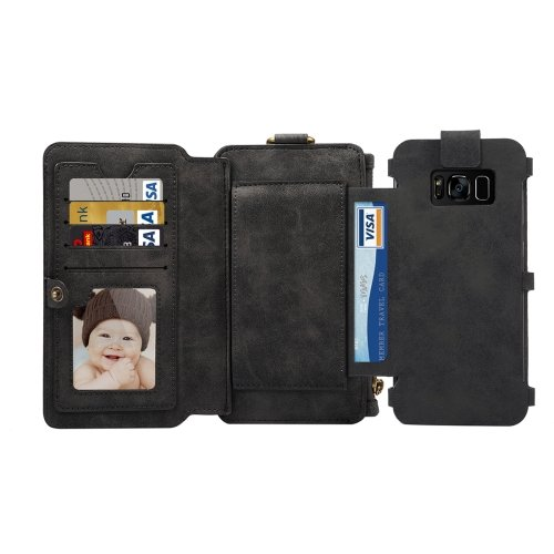 For Galaxy S8+ Black Multi-function Sheep Bar Material Universal Horizontal Flip Case
