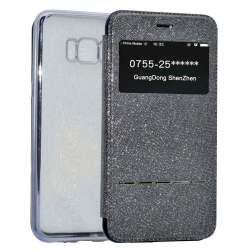 For Galaxy S8+ Grey Electroplating Soft TPU Cross Cover Case with Press Key