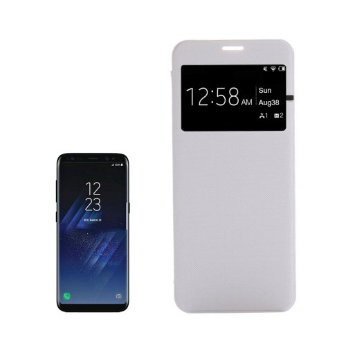 For Galaxy S8+ White PU+PC Small Lattice Flip Leather Case with Call Display ID