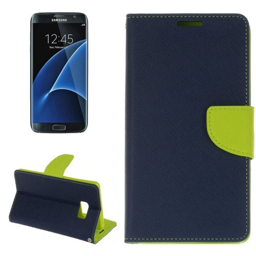 For Galaxy S8+ Dark Blue Cross Texture Leather Case with Card Slots, Holder & Wallet