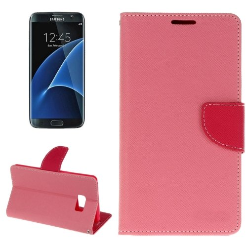 For Galaxy S8+ Pink Cross Texture Leather Case with Card Slots, Holder & Wallet