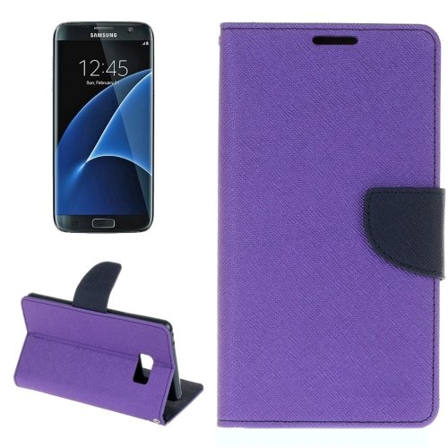 For Galaxy S8+ Purple Cross Texture Leather Case with Card Slots, Holder & Wallet