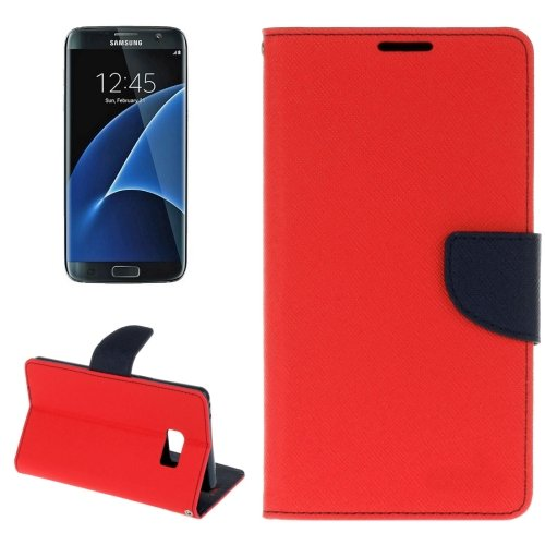 For Galaxy S8+ Red Cross Texture Leather Case with Card Slots, Holder & Wallet