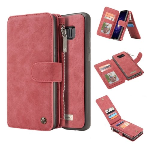 For Galaxy S8+ Red Crazy Horse Texture Flip Detachable Back Cover Leather Case