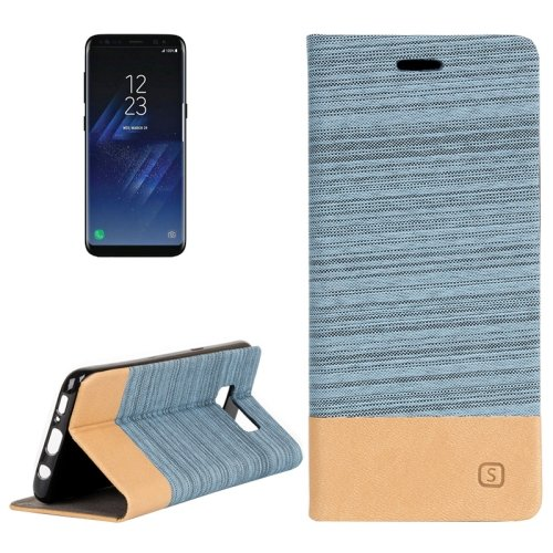 For Galaxy S8+ Blue Denim Texture Leather Case with Card Slots, Holder & Wallet