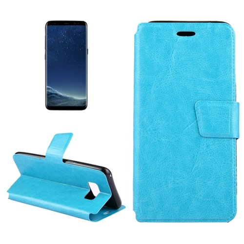 For Galaxy S8+ Blue Crazy Horse Flip Leather Case with Holder & Card Slots