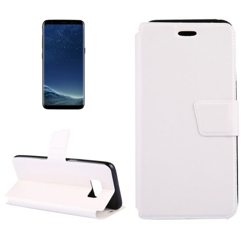 For Galaxy S8+ White Crazy Horse Flip Leather Case with Holder & Card Slots