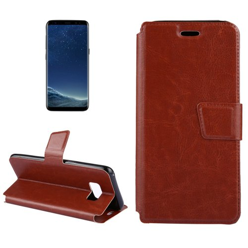 For Galaxy S8+ Brown Crazy Horse Flip Leather Case with Holder & Card Slots