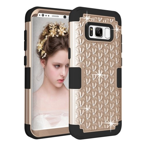 For Galaxy S8+ Gold Dropproof 3 in 1 Diamond Silicone sleeve Case