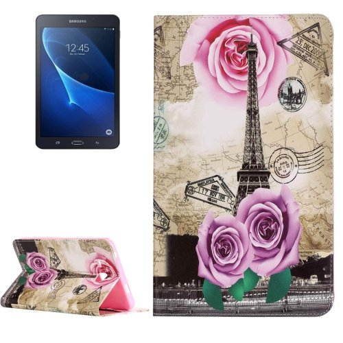 For Galaxy Tab A 7.0 Rose Tower Pattern Horizontal Flip Leather Case with Holder