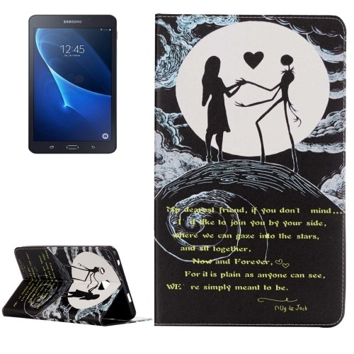 For Galaxy Tab A 7.0 Moon Couple Pattern Horizontal Flip Leather Case with Holder