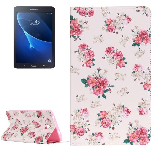 For Galaxy Tab A 7.0 Painting Rose Pattern Horizontal Flip Leather Case with Holder