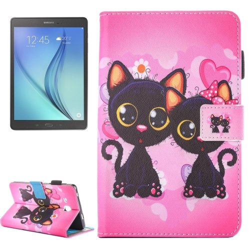 For Galaxy Tab A 7.0 Cat Couple Pattern Horizontal Flip Leather Case with Holder & Card Slots