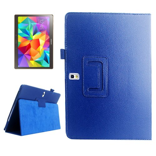 For Galaxy Tab S 10.5 Blue Lichee Texture Horizontal Flip Leather Case with Holder