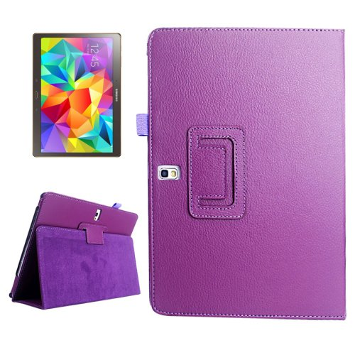 For Galaxy Tab S 10.5 Purple Lichee Texture Horizontal Flip Leather Case with Holder