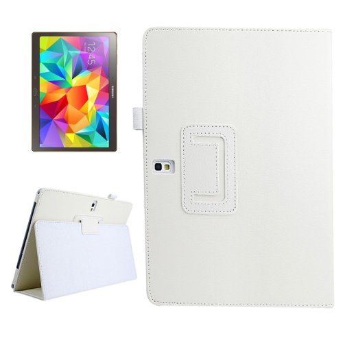 For Galaxy Tab S 10.5 White Lichee Texture Horizontal Flip Leather Case with Holder
