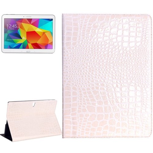 For Galaxy Tab S 10.5 Beige Crocodile Texture Flip Leather Case with Holder
