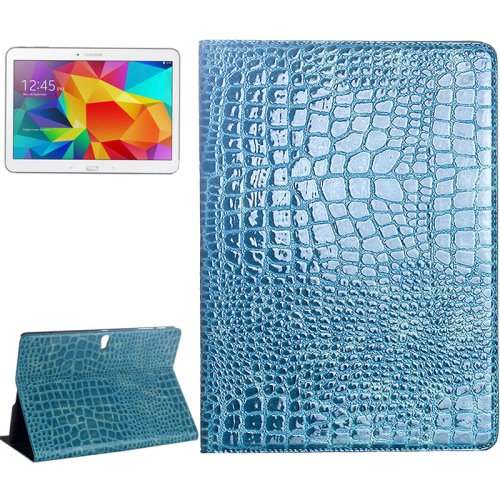 For Galaxy Tab S 10.5 Blue Crocodile Texture Flip Leather Case with Holder