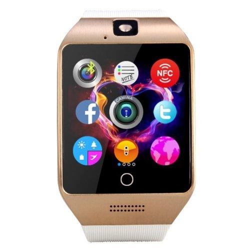 White + Gold Q18S 1.54 inch IPS Screen MTK6260A Bluetooth 3.0 Smart Watch