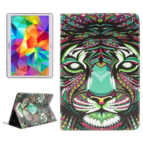 For Tab S 10.5 Tiger Pattern 2 Side Print Leather Case with Holder, Card Slots & Wallet