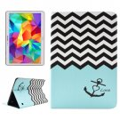 For Tab S 10.5 Anchor Pattern 2 Side Print Leather Case with Holder, Card Slots & Wallet