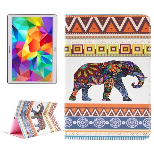For Tab S 10.5 Elephant Pattern 2 Side Print Leather Case with Holder, Card Slots & Wallet
