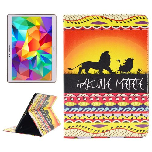 For Tab S 10.5 Matata Pattern 2 Side Print Leather Case with Holder, Card Slots & Wallet