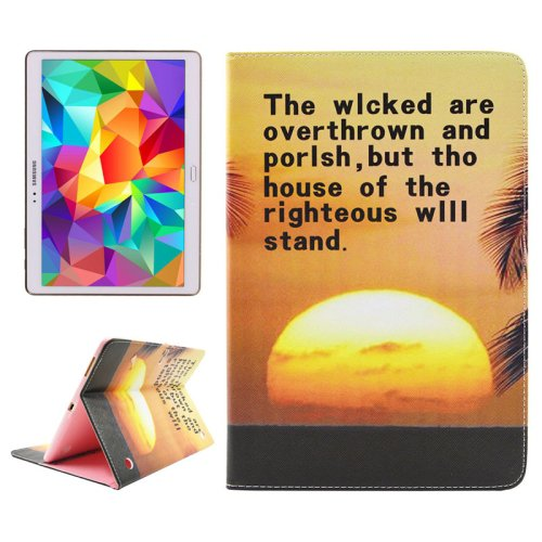 For Tab S 10.5 Sunset Pattern 2 Side Print Leather Case with Holder, Card Slots & Wallet