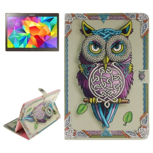 For Tab S 10.5 Owl Pattern Leather Case with Holder & Card Slots & Wallet