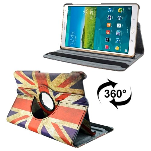 For Tab S 8.4/T700 UK Flag Smart Cover Leather Case with Rotating Holder