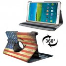 For Tab S 8.4/T700 USA Flag Smart Cover Leather Case with Rotating Holder