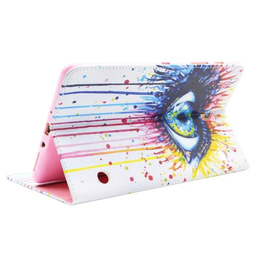 For Galaxy Tab S 8.4 Eye Pattern Cross Leather Case with Holder, Card Slots & Wallet