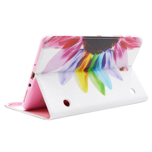 For Galaxy Tab S 8.4 Flower Pattern Cross Leather Case with Holder, Card Slots & Wallet