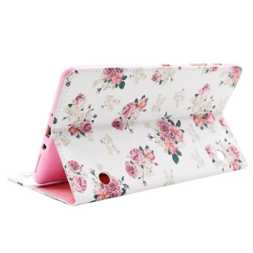 For Galaxy Tab S 8.4 Rose Pattern Cross Leather Case with Holder, Card Slots & Wallet