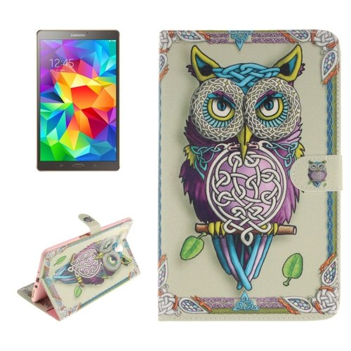 For Galaxy Tab S 8.4 Owl Pattern Leather Case with Holder, Card Slots & Wallet