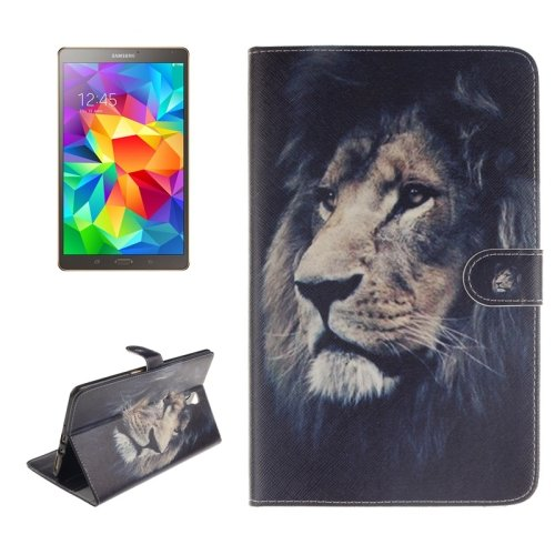 For Galaxy Tab S 8.4 Lion Pattern Leather Case with Holder, Card Slots & Wallet