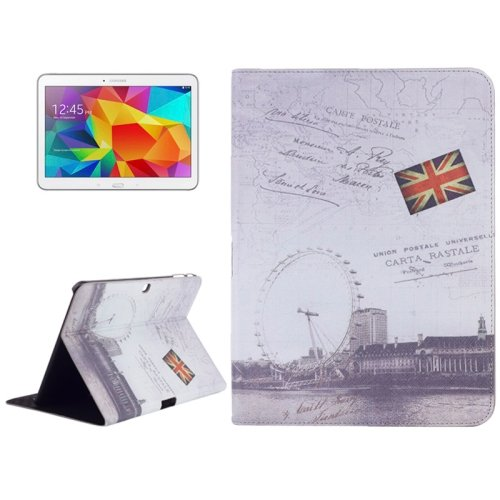 For Galaxy Tab 4 / 10.1 London Eye Pattern Leather Case with Holder