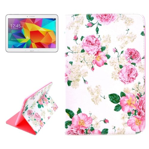 For Galaxy Tab 4 / 10.1 Rose Pattern Horizontal Flip Leather Case with Holder